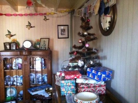 The 1955 interior at Christmas
