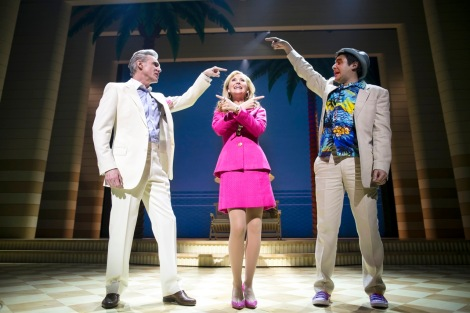 DIRTY ROTTEN SCOUNDRELS. Michael Praed (Lawrence), Carley Stenson (Christine) and Noel Sullivan (Freddy). Photo by Phil Tragen