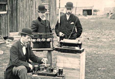 British Post Office engineers inspect Marconi's wireless telegraphy equipment