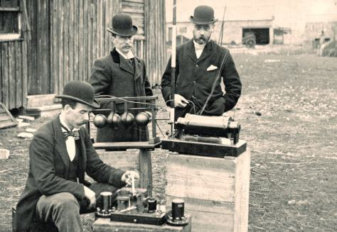 British Post Office engineers inspect Marconi's wireless telegraphy equipment