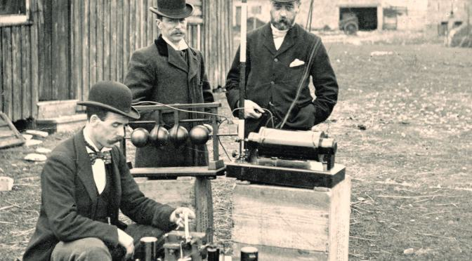 Marconi's first wireless message transmitted over sea, from Flat Holm to Lavernock Point