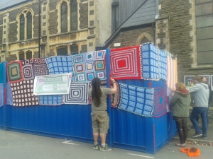 That is a well and truly yarn-bombed shipping container!