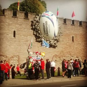 giant rugby ball in the wall
