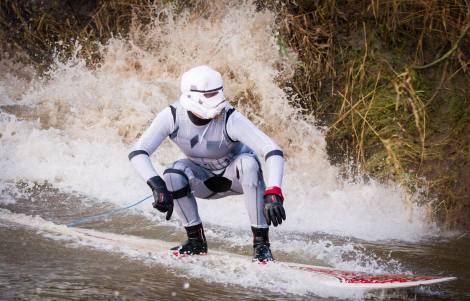 Stormtrooper surfer on the Severn Bore