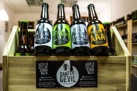 Cardiff, United Kingdom, November 26 2015. Products on display at the Crafty Devil's Cellar, Canton, Cardiff, Wales.