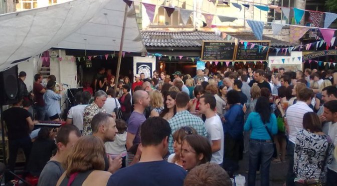 A festival at Pipes beer garden