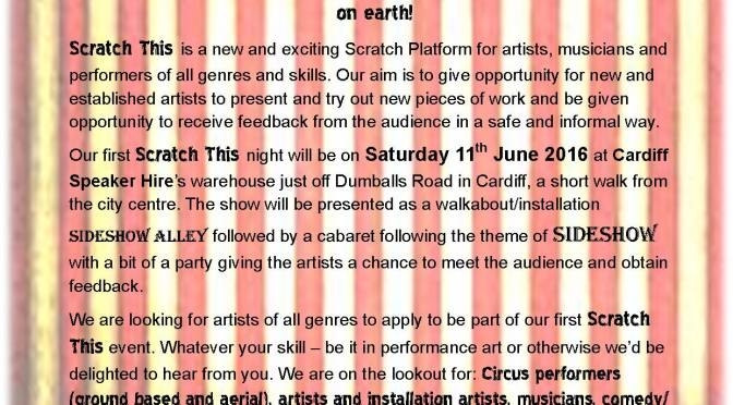 Scratch This! Cardiff scratch night launches, looking for acts …