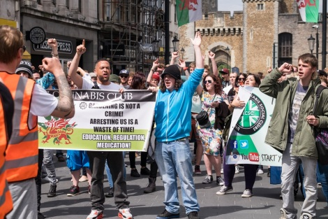 protestors at a cannabis march