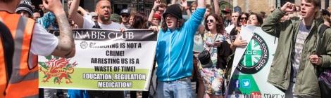 protestors at a cannabis march