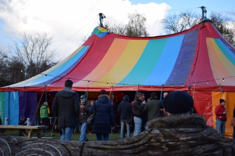 Rainbow coloured festival tent at Machynlleth_Comedy_Fest