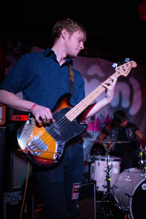 Bassist of Himalayas, Louis Heaps, performing in Moon Club, Cardiff on Saturday 22nd October.