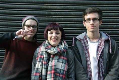 Members of Chroma, Zac Mather, Katie Hall and Liam Bevan posing outside Undertone on Sunday 23rd October.