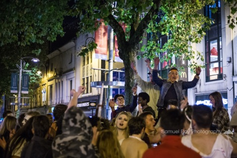 Revellers dance to the music during Hallowe'en celebrations- 1st November 2016 - Queen Street Cardiff, United Kingdom. ©Samuel Bay