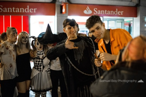 Revellers in fancy dress pose for a photo during Hallowe'en celebrations- 1st November 2016 - Queen Street Cardiff, United Kingdom. ©Samuel Bay