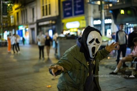 Revellers in fancy dress during Hallowe'en celebrations- 1st November 2016 - Queen Street Cardiff, United Kingdom. ©Samuel Bay
