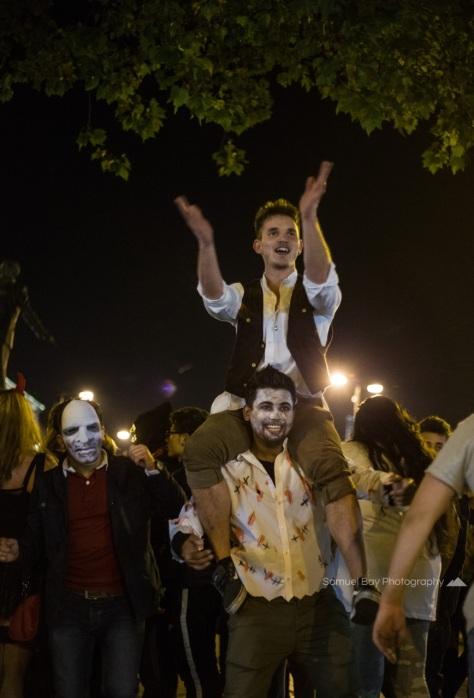 Revellers dance to the music during Hallowe'en celebrations- 1st November 2016 - Queen Street Cardiff, United Kingdom. ©Samuel Bay