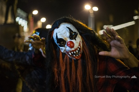 Revellers in fancy dress during Hallowe'en celebrations- 1st November 2016 - Queen Street Cardiff, United Kingdom. ©Samuel Bay