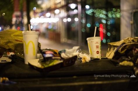 Litter left in the street after Hallowe'en celebrations- 1st November 2016 - Queen Street Cardiff, United Kingdom. ©Samuel Bay