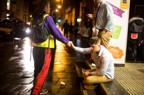 "UNITED KINGDOM; WALES; 24 January, 2017. Images taken from various nights with the ""Student Safety Walk"", a volunteer based organisation created by student, Alastair Babington that sees to the safety of students while on a night out."