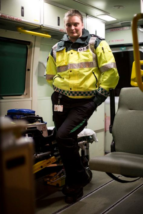 UNITED KINGDOM, WALES; October 31 2016. Portrait of 'MJ', an employee at St John's Ambulance working in Cardiff to help intoxicated people at night.