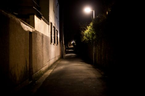 "UNITED KINGDOM, WALES; January 4, 2017. The cover image of my recent project, ""Get Home Safe"". A shot of the alley way behind Park Street, known to a lot of students as ""Rape Alley"", the location of sexual assaults last year and the catalyst for this project, and the Student Safety Walk."